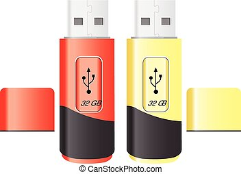 USB Flash Drive, illustration - USB Flash Drive, Red Orange,...