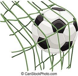 Vector of soccer ball on net.