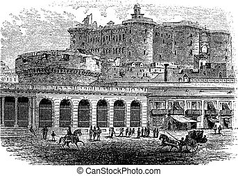 Castel Nuovo in Naples, Campania, Italy, vintage engraved...