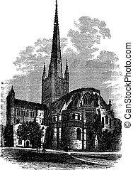 Norwich Cathedral in Norfolk, England, UK, vintage engraved illustration