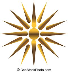 Golden sun, fully vectorized, Maya, Inca symbol.