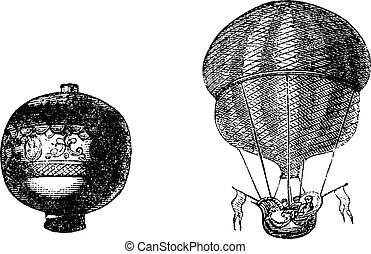 First balloon or Hot air balloon, vintage engraving - First...
