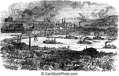 City of Pittsburgh. vintage engraving. - City of Pittsburgh,...