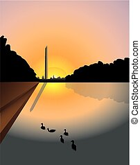 Washington monument sunset - Vector illustration of sunset...