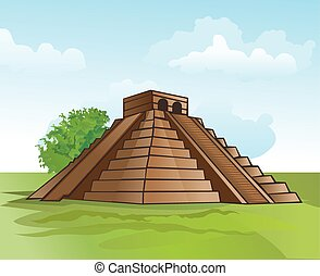 Mayan pyramid, illustration - Mayan pyramid, amidst lush...