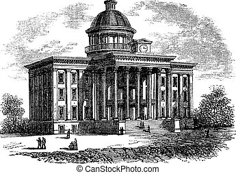 Alabama State Capitol Building, United States, vintage engraving