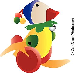 Colorful retro duck toy - Three dimensional illustration of...
