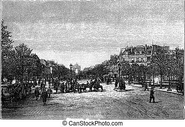 The Avenue des Champs-Elysees in Paris France vintage engraving