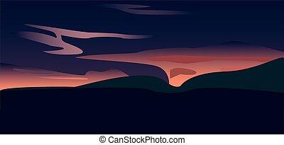 A sunset over valley, vector art