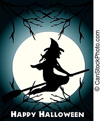 Halloween flying witch on a broom scene, full . Can be fully...