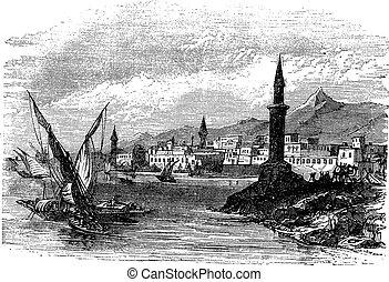 Jeddah or Jiddah in Saudi Arabia vintage engraving - Jeddah...