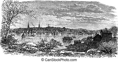 New London in Connecticut, USA, vintage engraved...