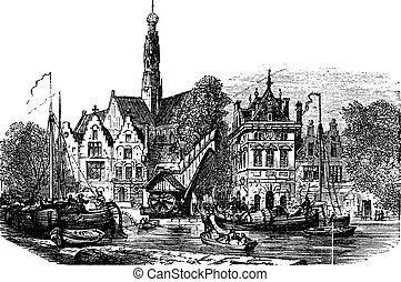 Grain market and Saint-Bavochurch docks, in Haarlem,  Netherlands vintage engraving.