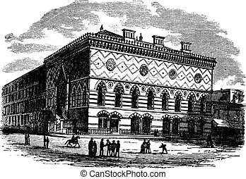 Silver Center of Arts and Science in New York City, New York, USA, vintage engraved illustration