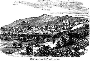 Beautiful view of buildings and mountain at Hebron vintage engraving
