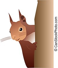 Squirrel - A cute vectorized squirrel climbing a tree