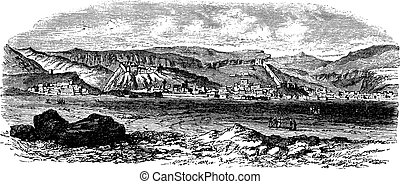 Landscape and mountains at Kars, Turkey vintage engraving...