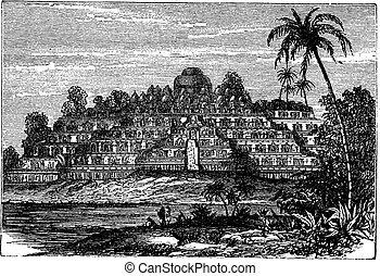 Borobudur or Barabudur in Central Java Indonesia vintage...
