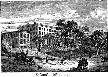 Columbia University in Manhattan, New York City, USA, vintage engraved illustration