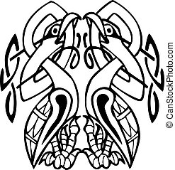 Celtic design with knotted lines of two birds