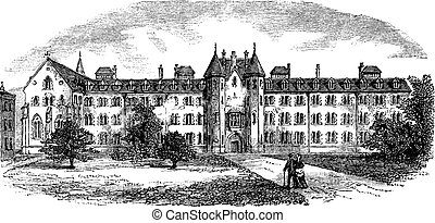 St Patrick's College or Maynooth College in Ireland vintage engraving
