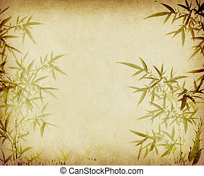 Traditional chinese painting Bamboo on Old antique vintage...