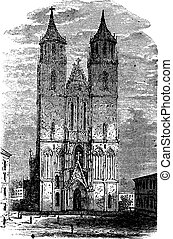 Cathedral of Magdeburg or Cathedral of Saints Catherine and Maurice in Germany vintage engraving