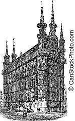 Town Hall of Leuven Belgium vintage engraving - Town Hall of...