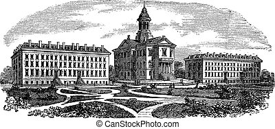 Bates College in Lewiston, Maine, vintage engraving - Bates...