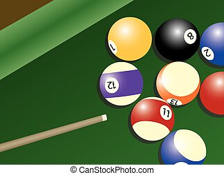 Pool table and balls - Overhead illustration of snooker cue...