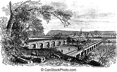 Harrisburg,Pennsylvania, United States View from the left bank of the Susquehanna vintage engraving