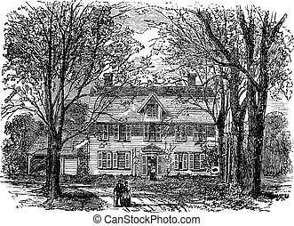 Hawthorne House at Concord, Massachusetts vintage engraving...