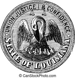Great Seal of the State of Louisiana USA vintage engraving