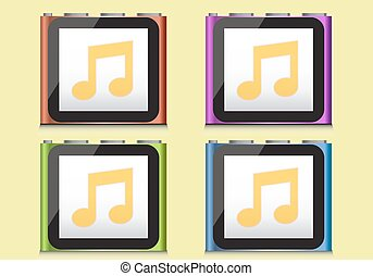 ipod, illustration - ipod music player, vector illustration