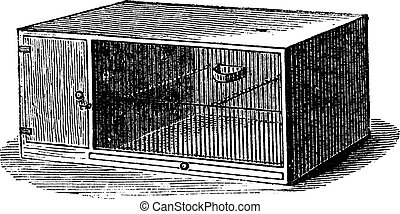Mouse cage vintage engraving