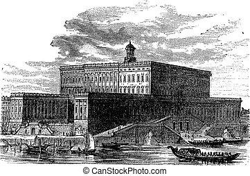Stockholm Palace in Stadsholmen Sweden vintage engraving -...