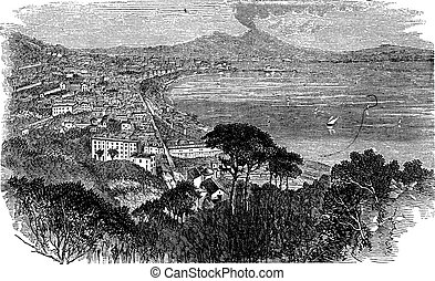 Naples in Campania, Italy, vintage engraved illustration....