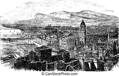 Malaga in Andalusia Spain vintage engraving - Malaga in...