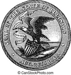 Great Seal of the State of Illinois USA vintage engraving -...