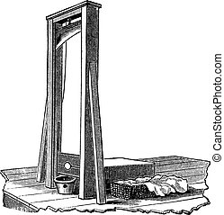 Guillotine isolated on white, vintage engraving - Guillotine...