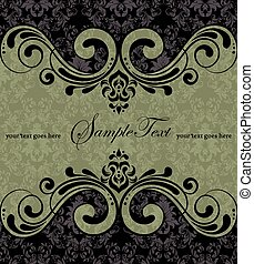 Vintage invitation card with ornate elegant retro abstract...