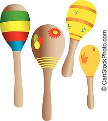 Four toy maracas in many colors.
