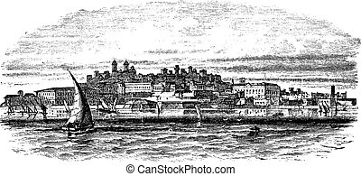 Montevideo, capital city of Uruguay, vintage engraving