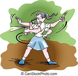 Self-Defense, illustration - Self-Defense, Girl in a Blue...