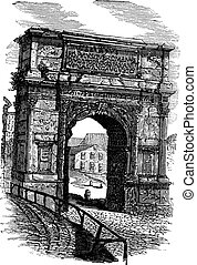 Arch of Titus on Via Sacra Rome Italy vintage engraving -...