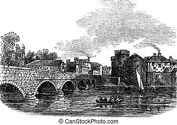 Thomond Bridge and King Johns Castle, Limerick, Ireland...
