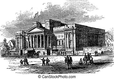 William Brown Library and Museum or World Museum Liverpool in England vintage engraving