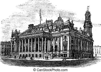 Royal Exchange in Manchester England vintage engraving -...