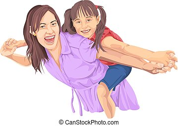 Vector of girl enjoying piggyback ride on mothers back -...