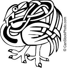 Celtic bird design - A black and white Celtic bird design
